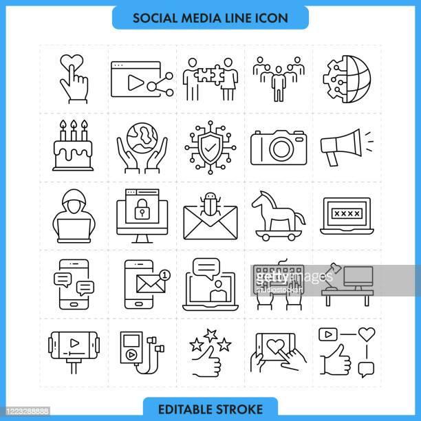 ソーシャルメディアのラインアイコン。編集可能ストローク - 通知アイコン点のイラスト素材/クリップアート素材/マンガ素材/アイコン素材