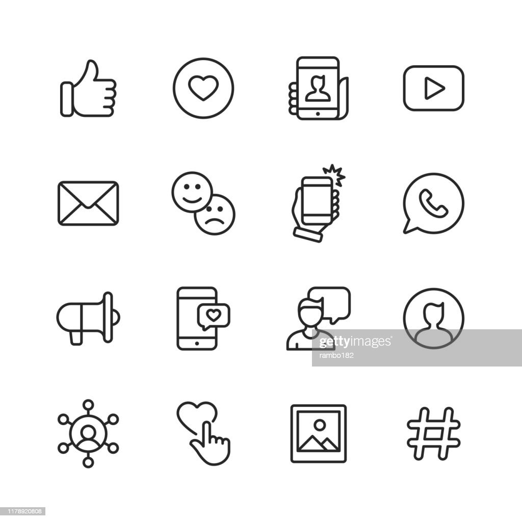 Social Media Line Icons. Editable Stroke. Pixel Perfect. For Mobile and Web. Contains such icons as Like Button, Thumb Up, Selfie, Photography, Speaker, Advertising, Online Messaging. : stock illustration