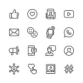 Social Media Line Icons. Editable Stroke. Pixel Perfect. For Mobile and Web. Contains such icons as Like Button, Thumb Up, Selfie, Photography, Speaker, Advertising, Online Messaging.