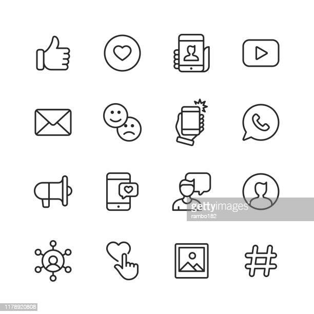 social media line icons. editable stroke. pixel perfect. for mobile and web. contains such icons as like button, thumb up, selfie, photography, speaker, advertising, online messaging. - like button stock illustrations