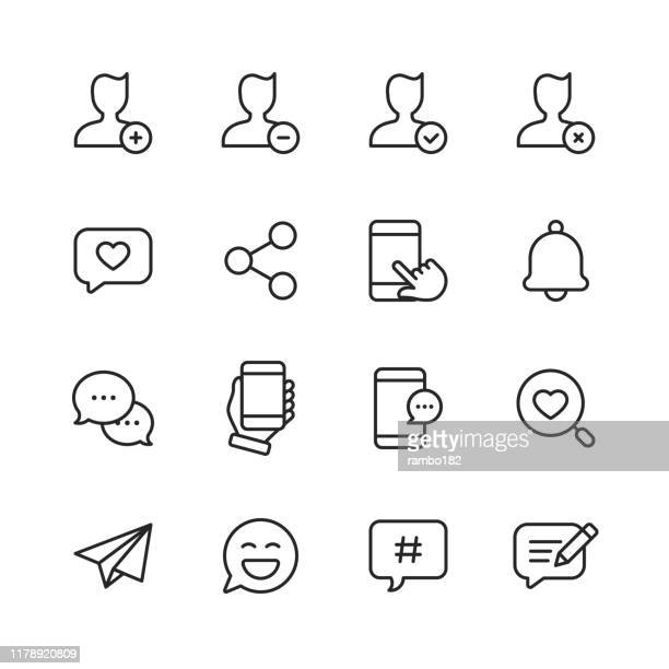 social media line icons. editable stroke. pixel perfect. for mobile and web. contains such icons as hashtag, social media, user profile, notification, like button, online messaging. - mobile app stock illustrations