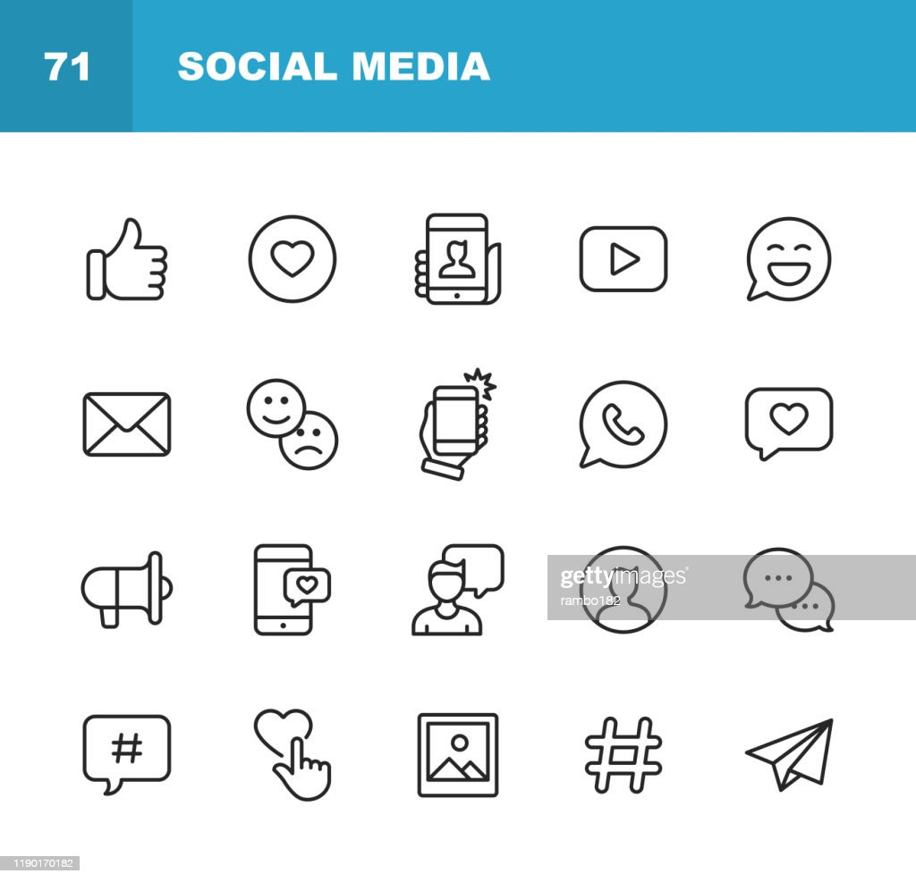 Social Media Line Icons. Editable Stroke. Pixel Perfect. For Mobile and Web. Contains such icons as Like Button, Thumb Up, Selfie, Photography, Speaker, Advertising, Online Messaging, Hashtag, User. : Illustrazione stock