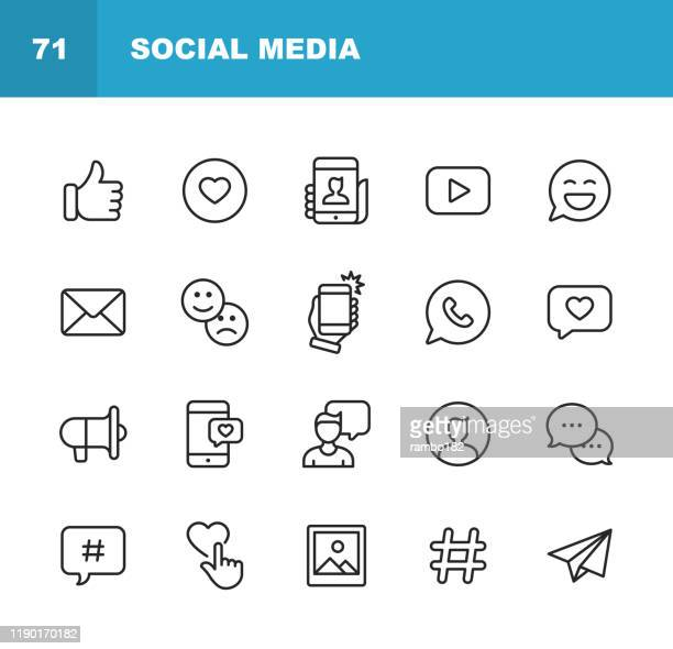 social media line icons. editable stroke. pixel perfect. for mobile and web. contains such icons as like button, thumb up, selfie, photography, speaker, advertising, online messaging, hashtag, user. - facebook stock illustrations