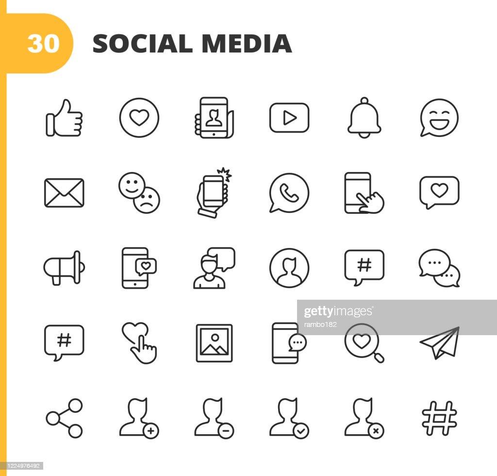 Social Media Line Icons. Bearbeitbarer Strich. Pixel perfekt. Für Mobile und Web. Enthält symboleweise Like Button, Thumb Up, Selfie, Photography, Speaker, Advertising, Online Messaging, Hashtag, Profile, Notification, Influencer, Emoji, Social Network. : Stock-Illustration