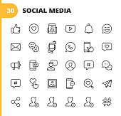 Social Media Line Icons. Editable Stroke. Pixel Perfect. For Mobile and Web. Contains such icons as Like Button, Thumb Up, Selfie, Photography, Speaker, Advertising, Online Messaging, Hashtag, Profile, Notification, Influencer, Emoji, Social Network.