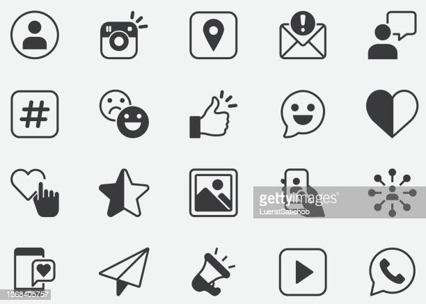 social media line icons. editable stroke.mobile and web. contains such icons as like button, thumb up, selfie, photography, speaker, advertising, online messaging.pixel perfect icons - social media icon stock illustrations