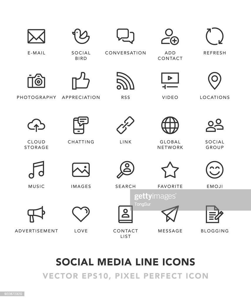 Social Media línea de iconos : Ilustración de stock