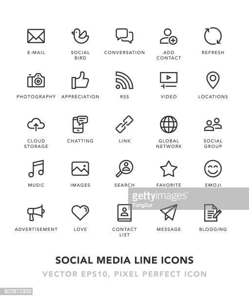 ilustraciones, imágenes clip art, dibujos animados e iconos de stock de social media línea de iconos - en búsqueda