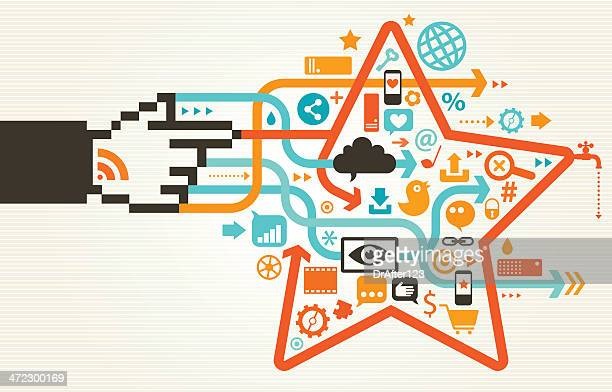 social media magic concept - concepts & topics stock illustrations, clip art, cartoons, & icons