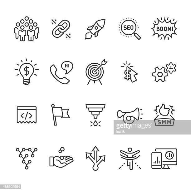 Sociale media marketing e SEO icone vettoriali Business