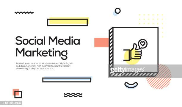 social media marketing concept. geometric retro style banner and poster concept with social media marketing icon - social media followers stock illustrations