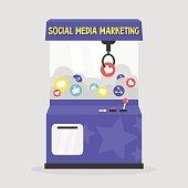 Social media marketing conceptual illustration. Grab a prize: like, share, comment / flat editable vector illustration, clip art.