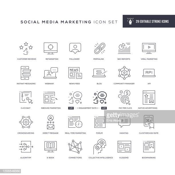 social media marketing editable stroke line icons - following stock illustrations