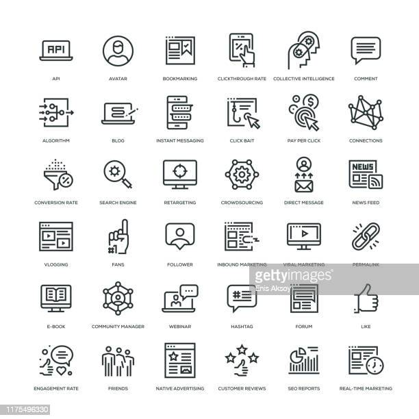 social media marketing icon set - social media icons stock illustrations