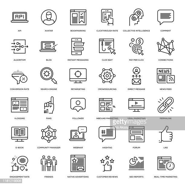 social media marketing icon set - business strategy stock illustrations