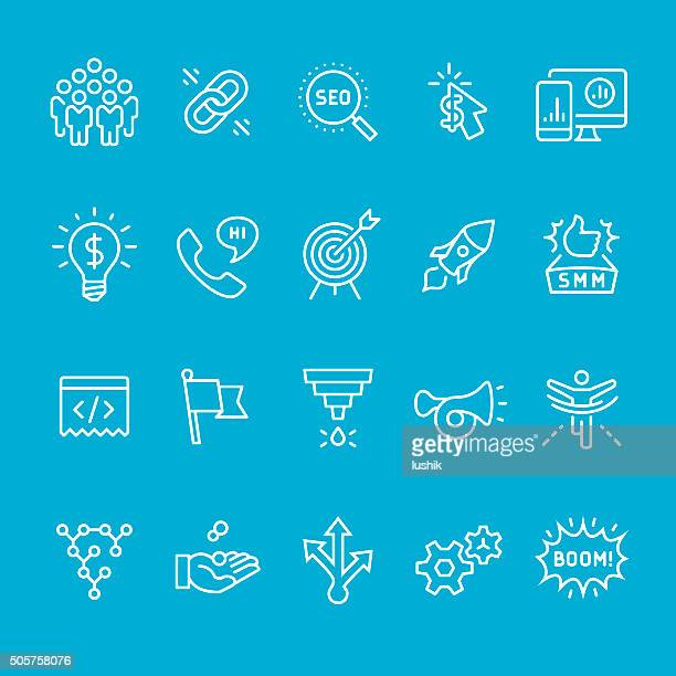 Social media marketing icons collection