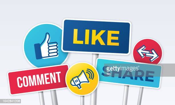 illustrazioni stock, clip art, cartoni animati e icone di tendenza di social media marketing like comment share signs - social network