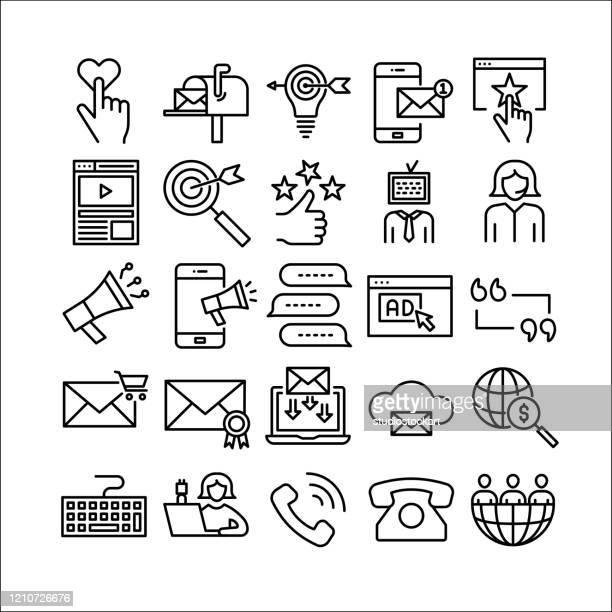 ソーシャルメディアマーケティングラインアイコンセット - クラウドソーシング点のイラスト素材/クリップアート素材/マンガ素材/アイコン素材