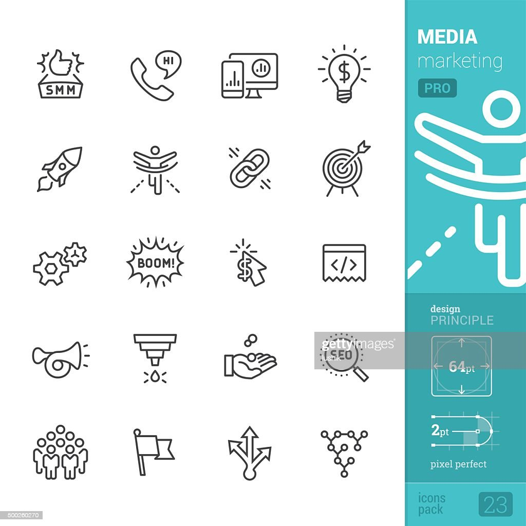 Social Media Marketing related vector icons - PRO pack
