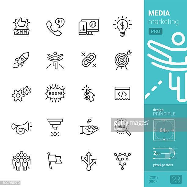 Sociale Media Marketing relative icone vettoriali-PRO pack