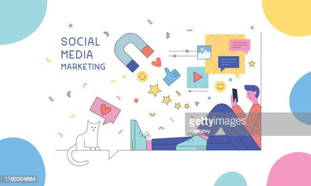 illustrations, cliparts, dessins animés et icônes de marketing des médias sociaux - marketing numérique