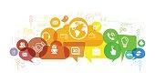 Social media network talk and speech bubbles illustration