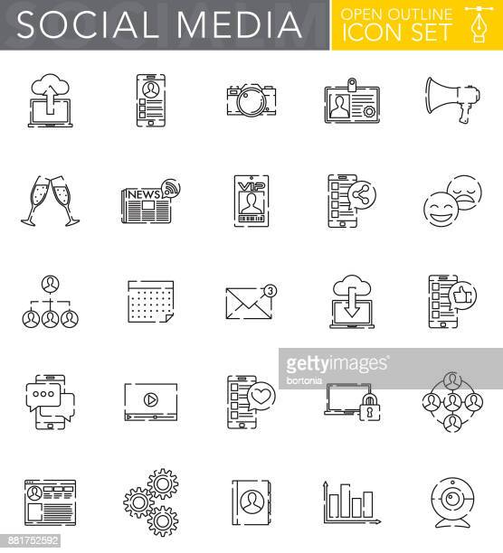 Social Media Open Outline Icon Set in Flat Design Style