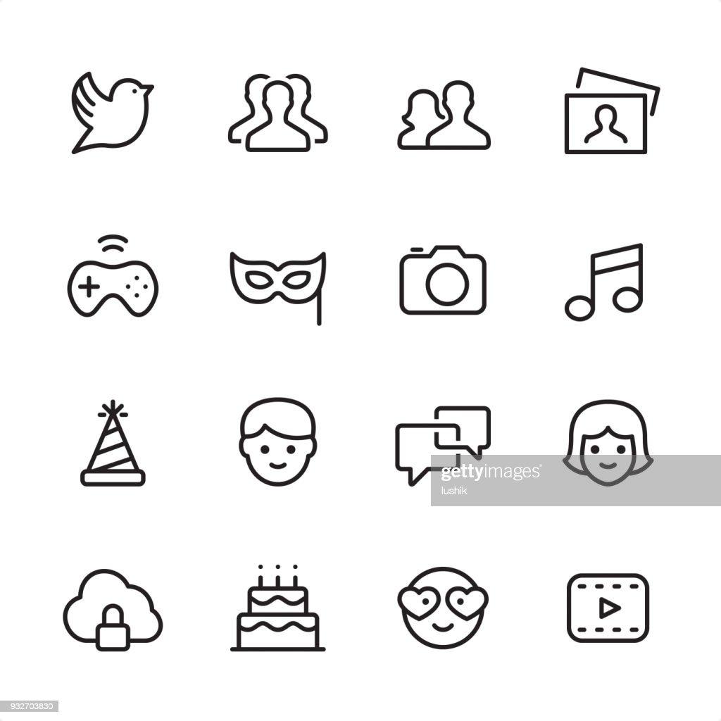 Social Media - outline icon set : stock illustration