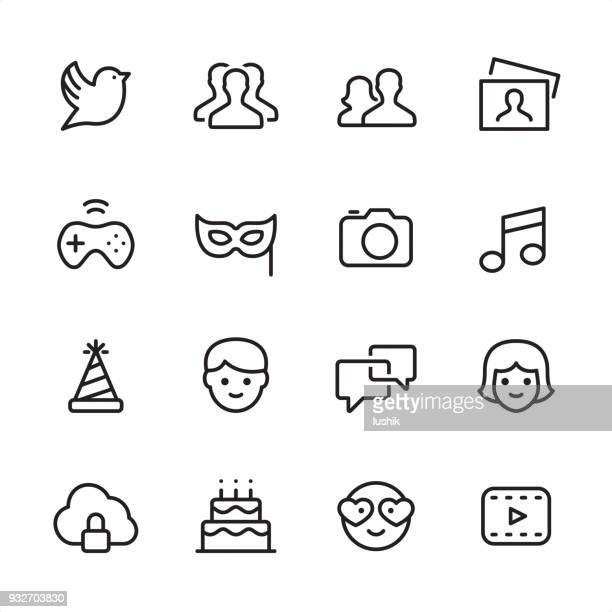 social media - outline icon set - arts culture and entertainment stock illustrations