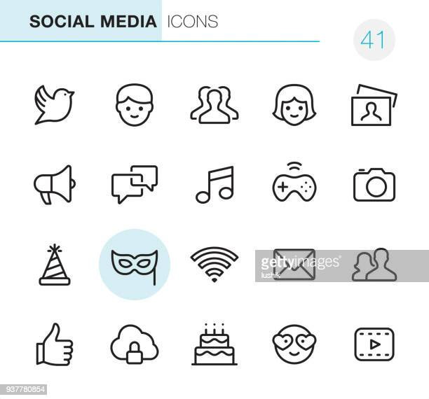 social media - pixel perfect icons - online messaging stock illustrations