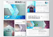 Social media posts set. Business templates. Cover design template, easy