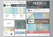 Social media posts set. Business templates. Easy editable abstract flat style template, vector layouts in popular formats. Minimalistic design with lines, geometric shapes forming beautiful background