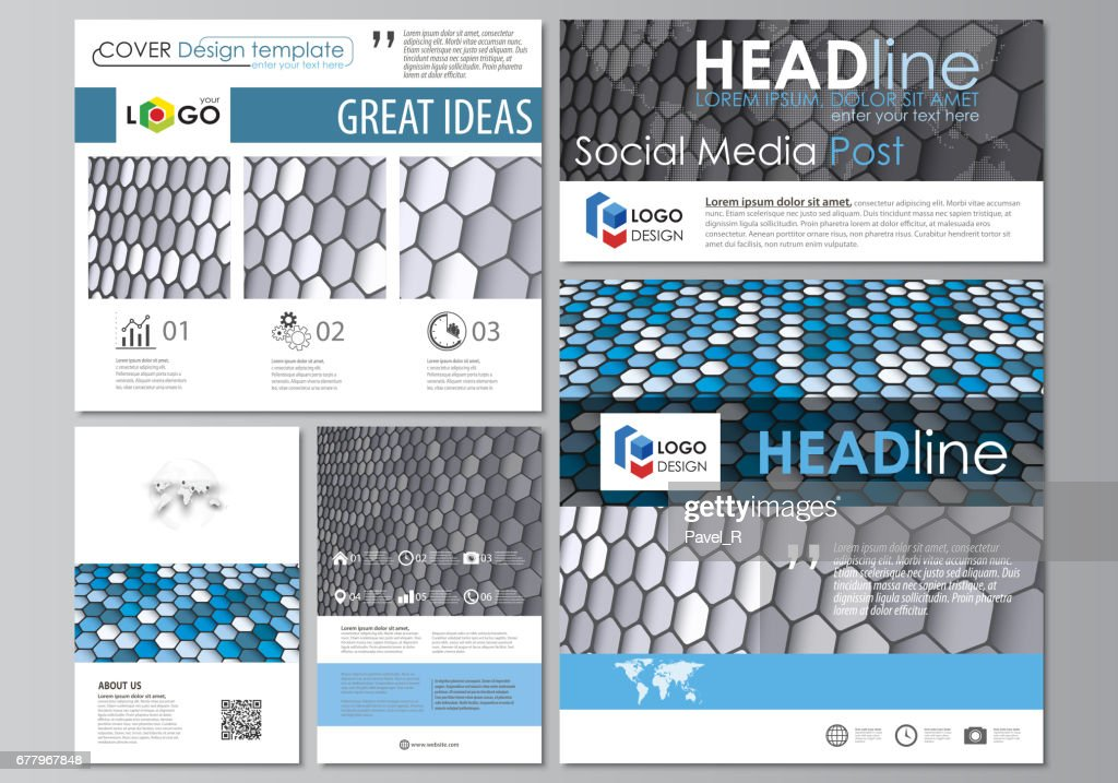 Social media posts set. Business templates. Easy editable flat design template, vector layouts in popular formats. Blue and gray color hexagons in perspective. Abstract polygonal style background