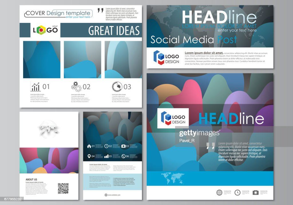 Social media posts set. Business templates. Flat style template, vector layouts in popular formats. Bright color pattern, colorful design with overlapping shapes forming abstract beautiful background