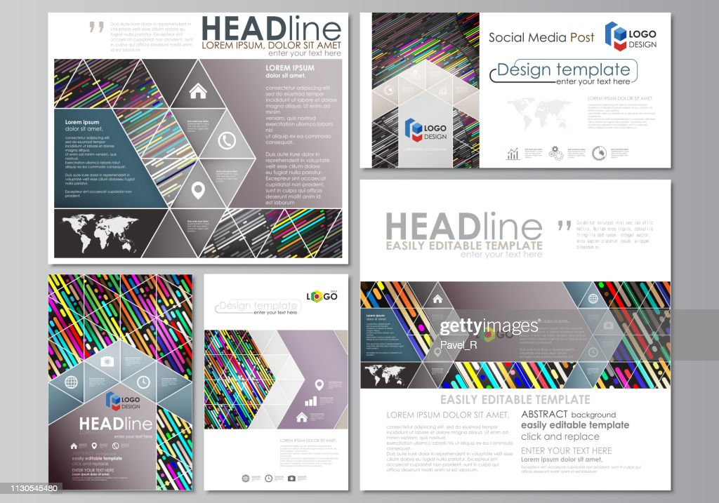 Social media posts set. Business templates. Vector design template, layouts in popular formats. Colorful background made of stripes. Abstract tubes and dots. Glowing multicolored texture.