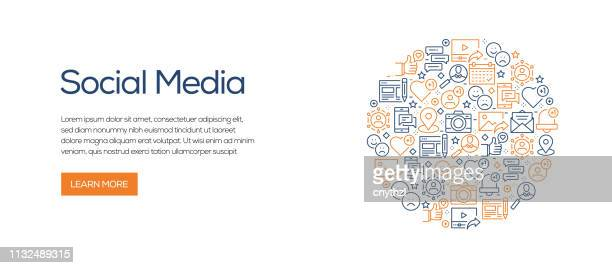 social media related banner template with line icons. modern vector illustration for advertisement, header, website. - following moving activity stock illustrations