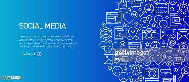illustrazioni stock, clip art, cartoni animati e icone di tendenza di social media related banner template with line icons. modern vector illustration for advertisement, header, website. - social network