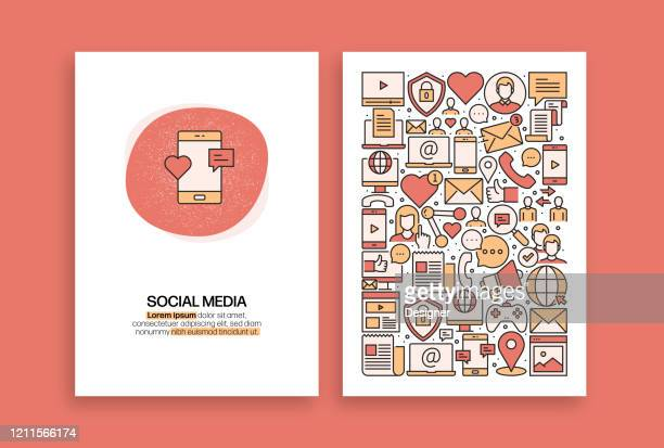 social media related design. modern vector templates for brochure, cover, flyer and annual report. - following stock illustrations