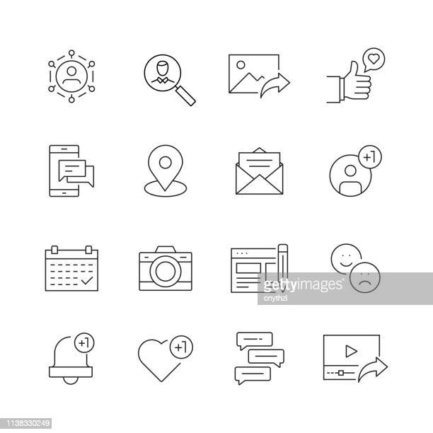 social media related - set of thin line vector icons - photographic stock illustrations