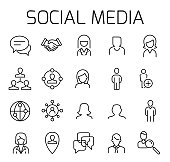 Social media related vector icon set.