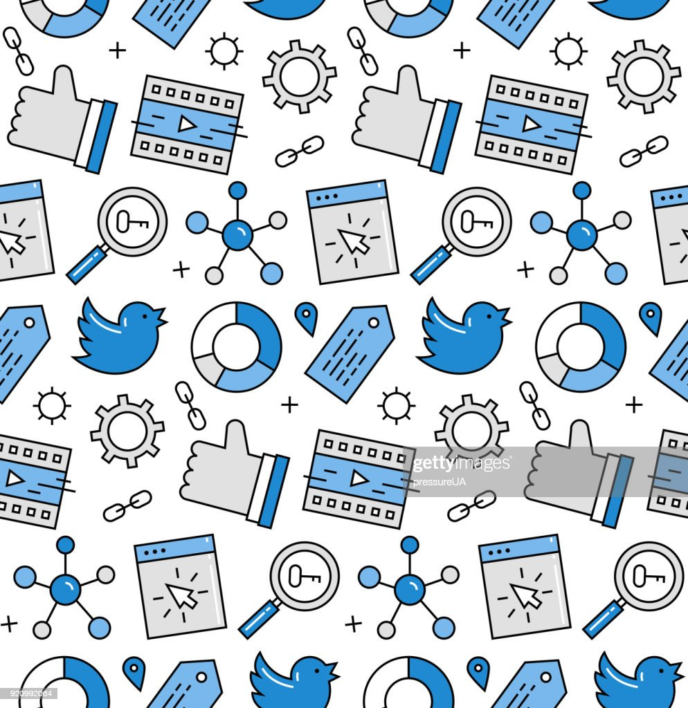 Social media seamless icons pattern