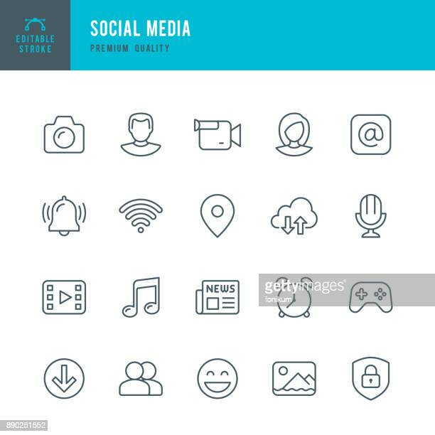 social media - set of thin line vector icons - microphone transmission stock illustrations