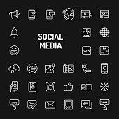 Social Media Simple Line Icon Set