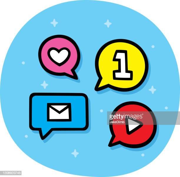 ilustrações, clipart, desenhos animados e ícones de fala nas redes sociais bubbles doodle - filtro de pós produção automática