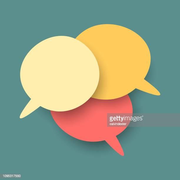 ilustrações de stock, clip art, desenhos animados e ícones de social media speech bubbles - comunicação