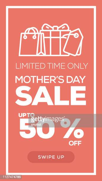 social media stories page sale banner background - mother's day sale - mothers day text art stock illustrations