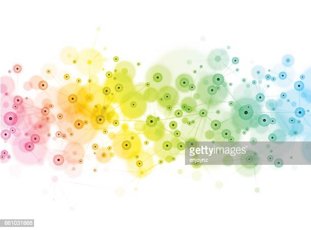 social media technology network background - atomic imagery stock illustrations