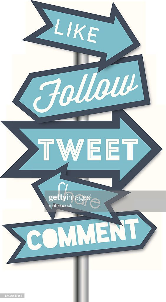 Social media terms signpost vector illustrations