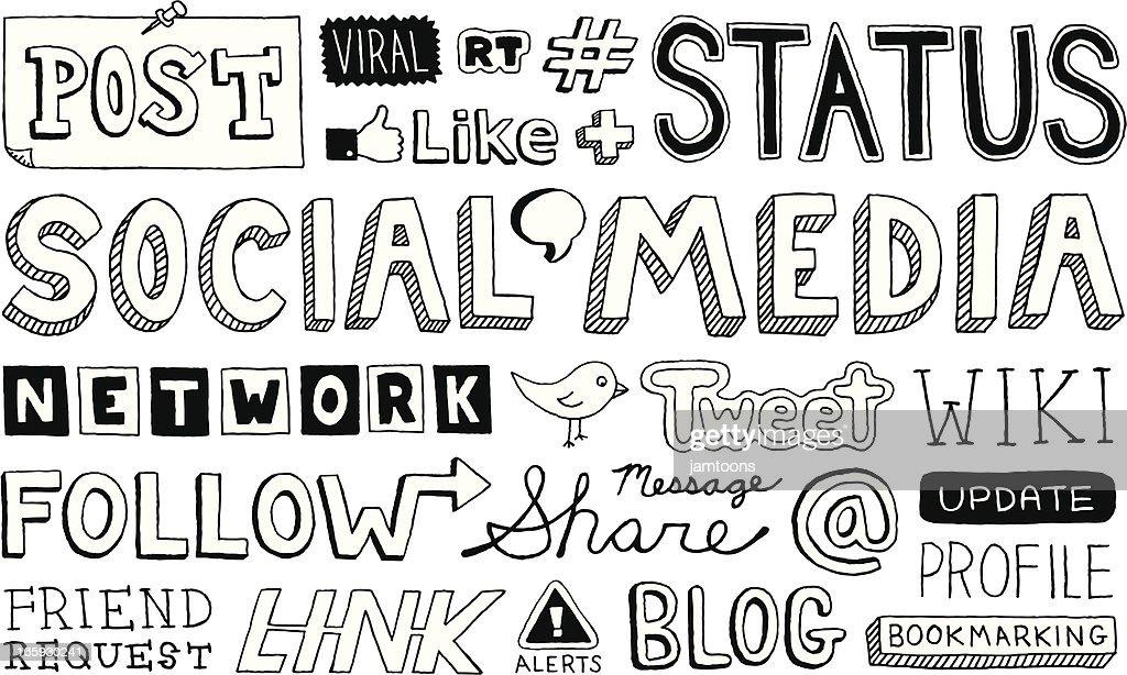 ソーシャルメディアのテキスト : ストックイラストレーション