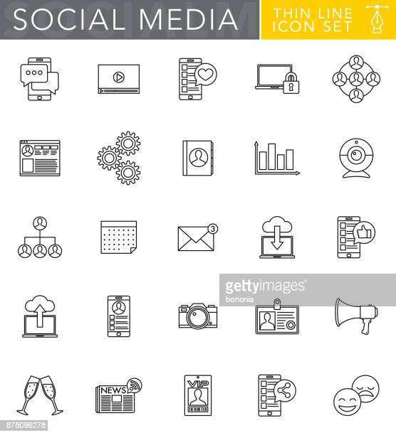Social Media Thin Line Icon Set in Flat Design Style
